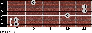F#11b5/B for guitar on frets 7, 7, 10, 11, 11, 8