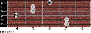 F#11b5/B for guitar on frets 7, 7, 4, 5, 5, 6
