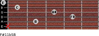 F#11b5/B for guitar on frets x, 2, 4, 3, 1, 0