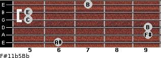 F#11b5/Bb for guitar on frets 6, 9, 9, 5, 5, 7