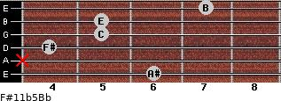 F#11b5/Bb for guitar on frets 6, x, 4, 5, 5, 7