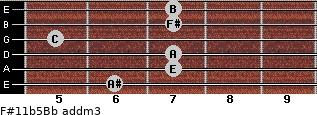 F#11b5/Bb add(m3) guitar chord