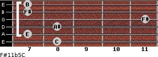 F#11b5/C for guitar on frets 8, 7, 8, 11, 7, 7