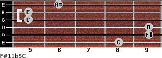 F#11b5/C for guitar on frets 8, 9, 9, 5, 5, 6