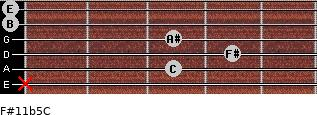 F#11b5/C for guitar on frets x, 3, 4, 3, 0, 0