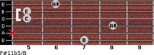 F#11b5/B for guitar on frets 7, x, 8, 5, 5, 6