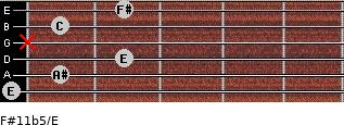 F#11b5/E for guitar on frets 0, 1, 2, x, 1, 2