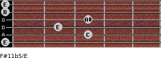 F#11b5/E for guitar on frets 0, 3, 2, 3, 0, 0