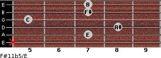 F#11b5/E for guitar on frets x, 7, 8, 5, 7, 7