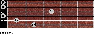 F#11#5 for guitar on frets 2, 1, 0, 3, 0, 0