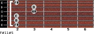F#11#5 for guitar on frets 2, 2, 2, 3, 3, 2