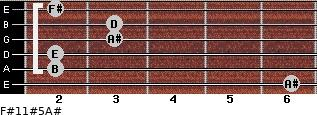 F#11#5/A# for guitar on frets 6, 2, 2, 3, 3, 2