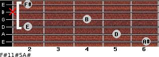 F#11#5/A# for guitar on frets 6, 5, 2, 4, x, 2