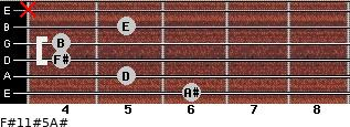 F#11#5/A# for guitar on frets 6, 5, 4, 4, 5, x