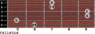 F#11#5/A# for guitar on frets 6, 5, 9, 9, 7, 7