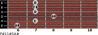 F#11#5/A# for guitar on frets 6, 7, 8, 7, 7, 7