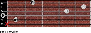 F#11#5/A# for guitar on frets x, 1, 0, 4, 5, 2