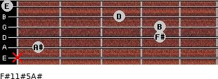 F#11#5/A# for guitar on frets x, 1, 4, 4, 3, 0