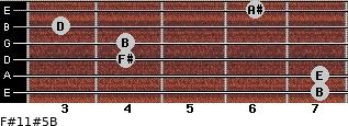 F#11#5/B for guitar on frets 7, 7, 4, 4, 3, 6