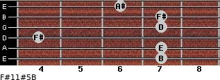 F#11#5/B for guitar on frets 7, 7, 4, 7, 7, 6