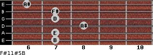 F#11#5/B for guitar on frets 7, 7, 8, 7, 7, 6