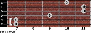 F#11#5/B for guitar on frets 7, 7, 9, 11, 11, 10