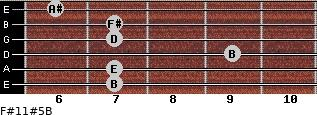 F#11#5/B for guitar on frets 7, 7, 9, 7, 7, 6