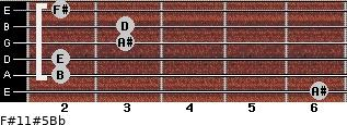 F#11#5/Bb for guitar on frets 6, 2, 2, 3, 3, 2