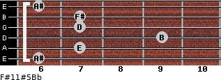 F#11#5/Bb for guitar on frets 6, 7, 9, 7, 7, 6
