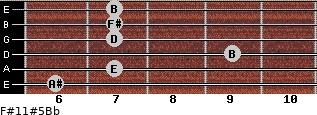 F#11#5/Bb for guitar on frets 6, 7, 9, 7, 7, 7