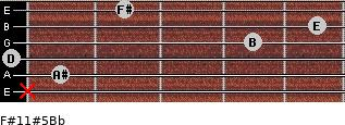 F#11#5/Bb for guitar on frets x, 1, 0, 4, 5, 2