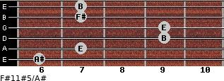 F#11#5/A# for guitar on frets 6, 7, 9, 9, 7, 7