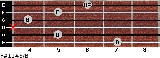 F#11#5/B for guitar on frets 7, 5, x, 4, 5, 6