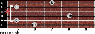 F#11#5/Bb for guitar on frets 6, 5, 8, x, 5, 7