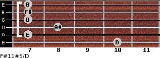 F#11#5/D for guitar on frets 10, 7, 8, 7, 7, 7