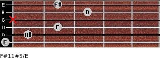 F#11#5/E for guitar on frets 0, 1, 2, x, 3, 2