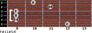 F#11#5/E for guitar on frets 12, 9, 9, 9, 11, 10