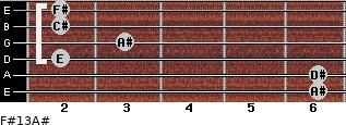 F#13/A# for guitar on frets 6, 6, 2, 3, 2, 2