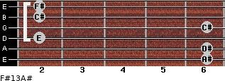 F#13/A# for guitar on frets 6, 6, 2, 6, 2, 2