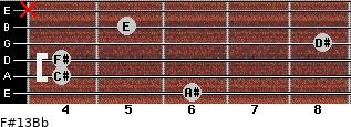 F#13/Bb for guitar on frets 6, 4, 4, 8, 5, x