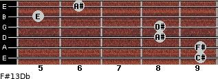 F#13/Db for guitar on frets 9, 9, 8, 8, 5, 6