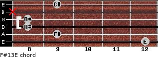 F#13/E for guitar on frets 12, 9, 8, 8, x, 9