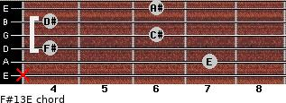 F#13/E for guitar on frets x, 7, 4, 6, 4, 6