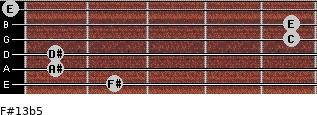 F#13b5 for guitar on frets 2, 1, 1, 5, 5, 0