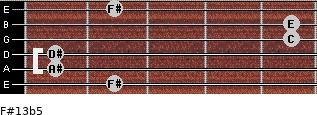 F#13b5 for guitar on frets 2, 1, 1, 5, 5, 2