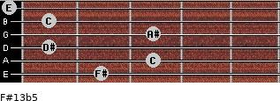 F#13b5 for guitar on frets 2, 3, 1, 3, 1, 0