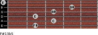 F#13b5 for guitar on frets 2, 3, 2, 3, 4, 0