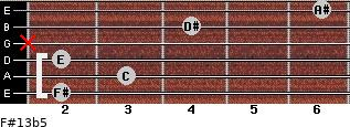 F#13b5 for guitar on frets 2, 3, 2, x, 4, 6