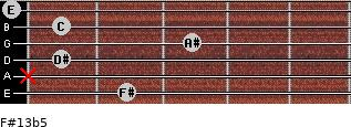 F#13b5 for guitar on frets 2, x, 1, 3, 1, 0