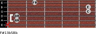 F#13b5/Bb for guitar on frets x, 1, 1, 5, 5, 2
